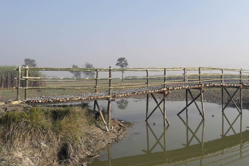 A newly constructed bamboo bridge