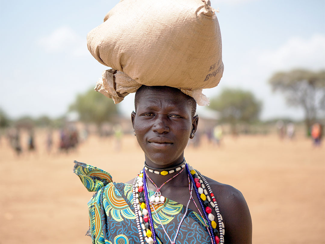Namana Lomor is a young woman from South Sudan whose family is receiving emergency help through the Foodgrains Bank. Photo:Matthew Sawatzky