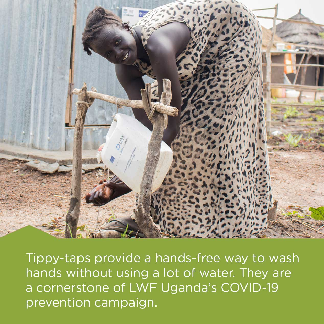 A woman washes her hands using a tippy-tap.