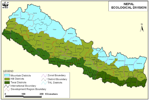 WWF Nepal Map