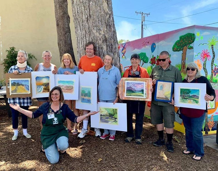 Paula Brown and her Pastel Painting class