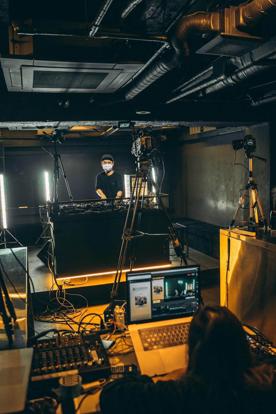DJ streaming an online music event