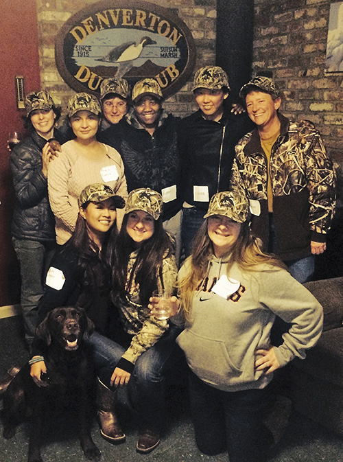 A group of female hunters enjoy the clubhouse at Denverton with California Waterfowl.