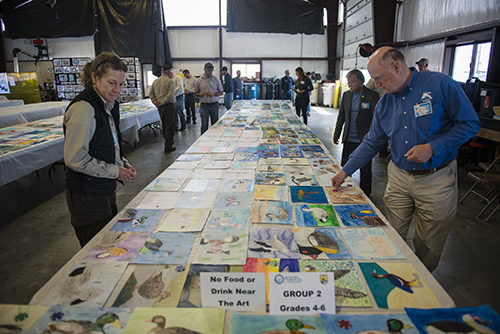 Judges select potential winners at the California Junior Duck Stamp judging.