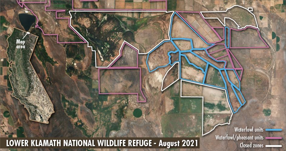 Satellite map of a very dry Lower Klamath National Wildlife Refuge
