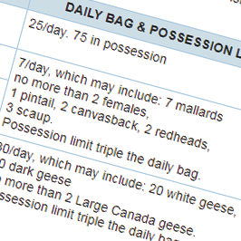 Screenshot of waterfowl hunting daily bag and possession limits