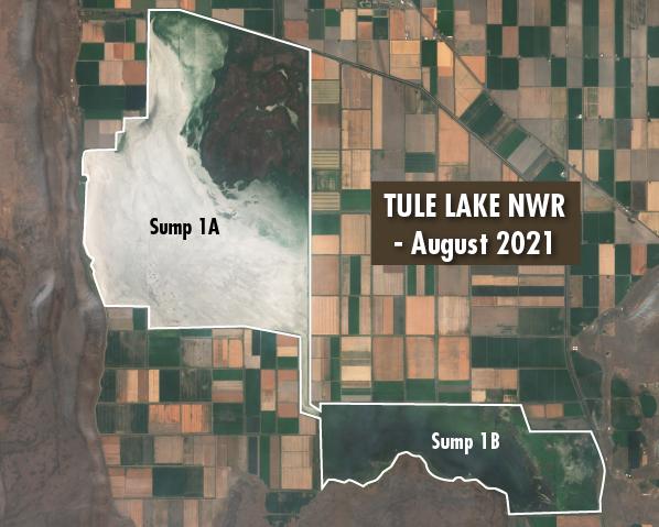 Satellite image of the Tule Lake National Wildlife Refuge