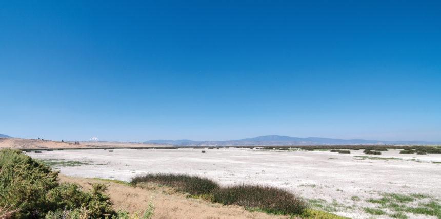 Photo of bone-dry wetland at the Lower Klamath National Wildlife Refuge