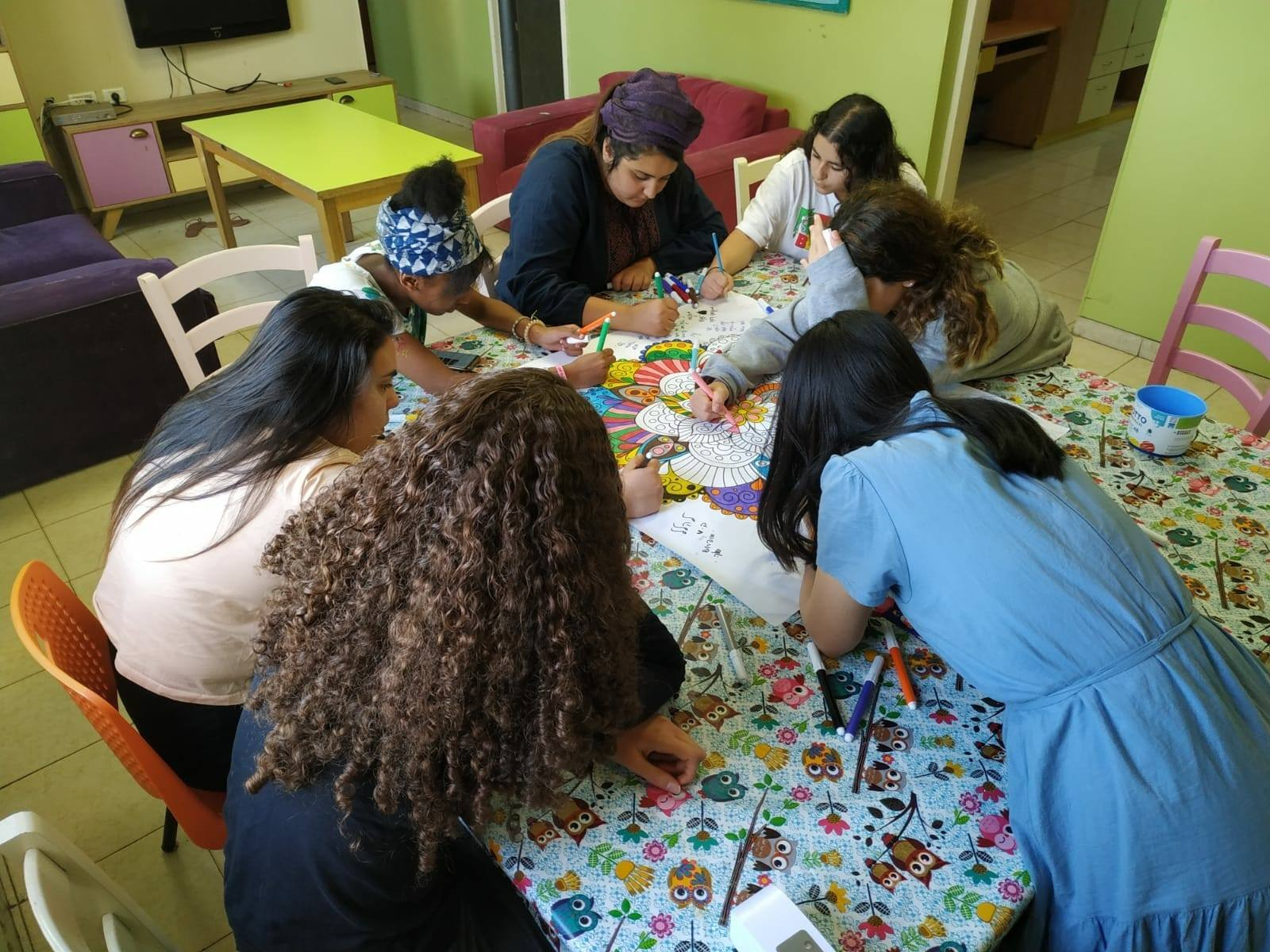 Group of girls who live in an Emunah Residential Care facility