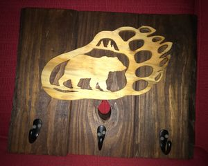 Reclaimed Bear Pawprint Wall Hanging with 3 Hooks