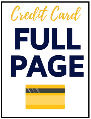 CREDIT CARD Full Page Message or Ad
