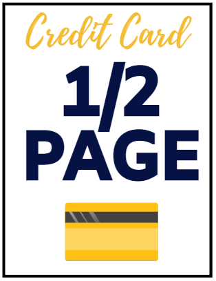 CREDIT CARD 1/2 Page Message or Ad
