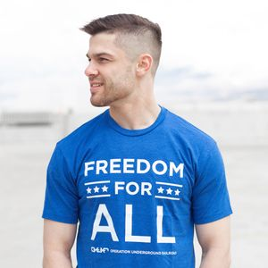 'Freedom For All'  Men's Crew Tee- Blue