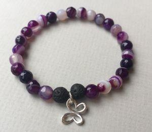 Purple Agate & Lava Butterfly Diffuser Bracelet