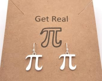 Pi Earrings - Sterling Silver, Handcrafted