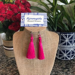 Tasseled Earrings: Fuchsia