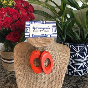 Wooden Earrings: Orange