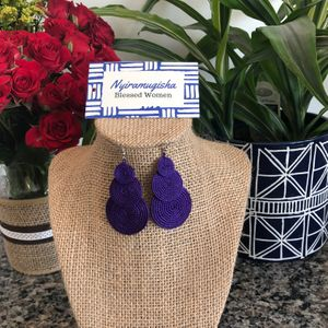 Three Circle Earrings: Purple