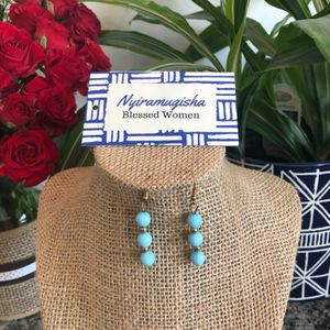 Small Beaded Earrings: Turquoise
