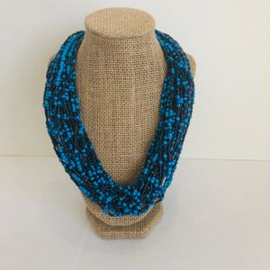 Blue & Iridescent  Black Beaded Necklace