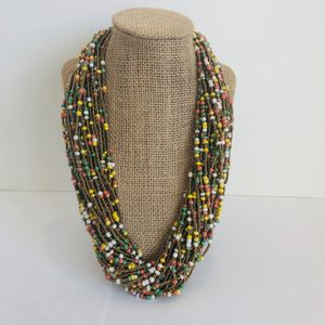 Yellow, Pink, Green, and Gold Beaded Necklace