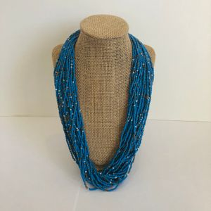 Bright Blue and Silver Beaded Necklace