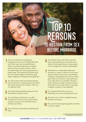 Top 10 Abstinence UK Fact Sheet