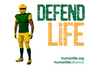 Defend Life Football  Laptop/Bumper Sticker Version 1