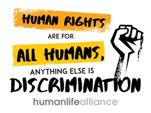 Human Rights are for all humans, anything else is discrimination Laptop/Bumper Sticker