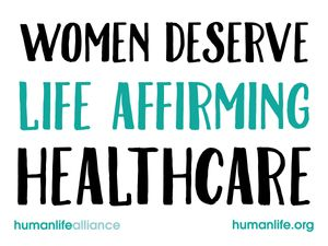 Women deserve Life Affirming Healthcare Laptop/Bumper Sticker