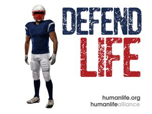Defend Life Football  Laptop/Bumper Sticker Version 3