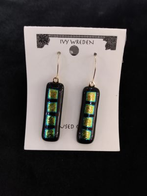 Fused Glass Gold Green Boxes