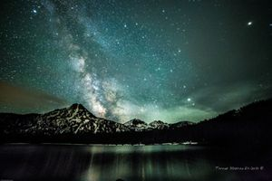 Green Aura-Milky Way Over Gunsight Mountain at Anthony Lake
