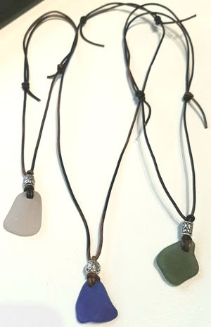 Sea Glass and Wax Cord Necklaces