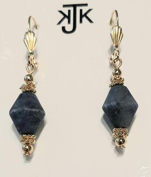 KJK  Blue Bicone Earrings