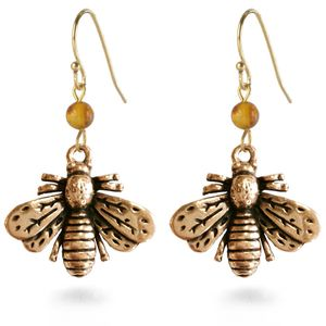 Bee Earrings with Amber Bead