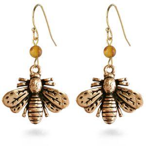 Bee Earrings with Amber Bead