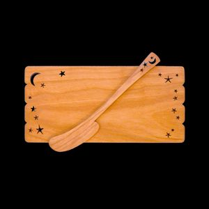 MoonSpoon® Cherry Wood Butter Board and Spreader