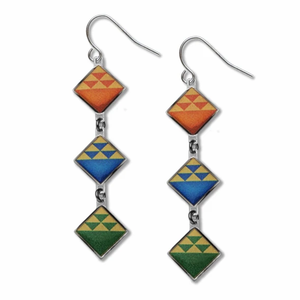 David Howell Birds in Flight  Quilt Earrings