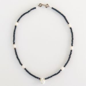 Harriet Goldstein Onyx and Freshwater Pearl Choker