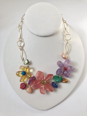 Abra Couture Flower Bead Necklace