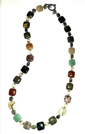 Semiprecious Multi Stone Cubes necklace