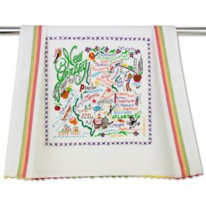 New Jersey Embroidered Trim Tea Towel
