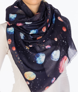 Planets Watercolor Oblong Scarf