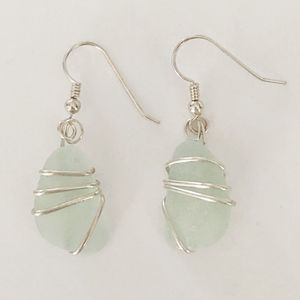 Sea Glass and Sterling Silver earrings