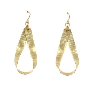 Old Blood Hammered Brass Earring