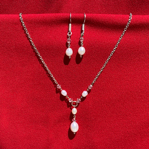 Pearls with Pink Crystals Necklace/Earring Set