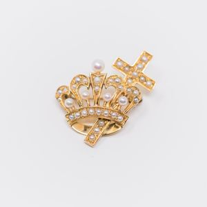 Cross and Crown Pin with Seed Pearls