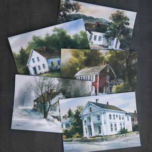 Watercolor Historic House Cards