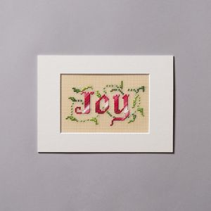 Joy - Matted Cross-Stitch with Light Background